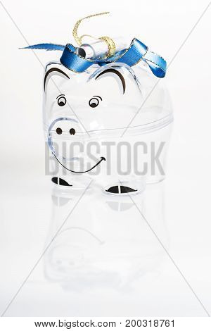 Piggy bank for coins and euro bills. Money saving concept. Banknotes box isolated background.