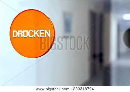 Glass Door With Sticker And Word Druecken