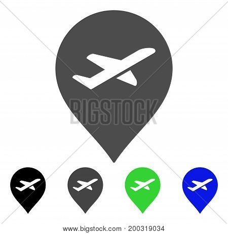 Airport Marker flat vector icon. Colored airport marker, gray, black, blue, green pictogram versions. Flat icon style for application design.