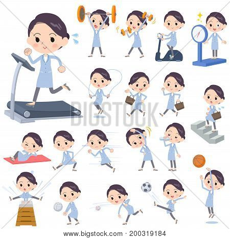Set of various poses of White coat women_Sports & exercise