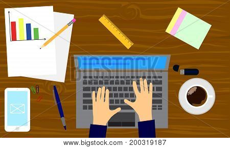Top view with textured table laptop smartphone documents office tools and coffee cup. Work desk for office with stationery elements on the table. Flat style