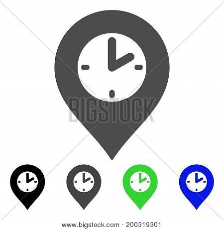 Clock Marker flat vector pictogram. Colored clock marker, gray, black, blue, green pictogram variants. Flat icon style for web design.