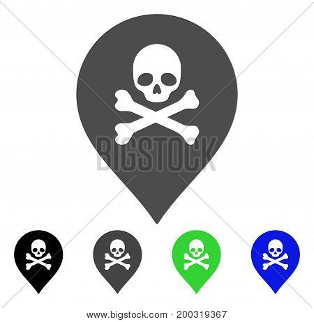 Death Marker flat vector icon. Colored death marker, gray, black, blue, green icon versions. Flat icon style for graphic design.