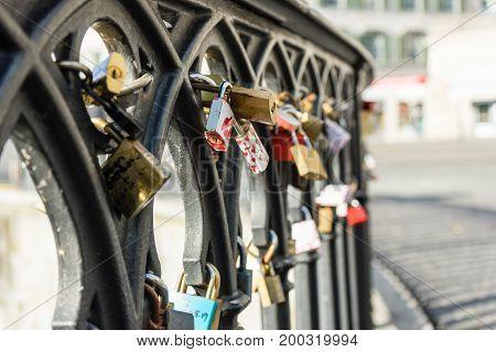 love locks on a bridge close up romantic tourism