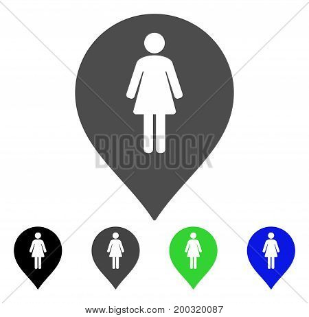 Female Toilet Marker flat vector illustration. Colored female toilet marker, gray, black, blue, green icon variants. Flat icon style for web design.