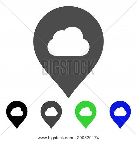 Fog Cloud Marker flat vector icon. Colored fog cloud marker, gray, black, blue, green icon versions. Flat icon style for application design.