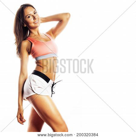 young pretty woman in sports wear isolated on white smiling adorable cutie