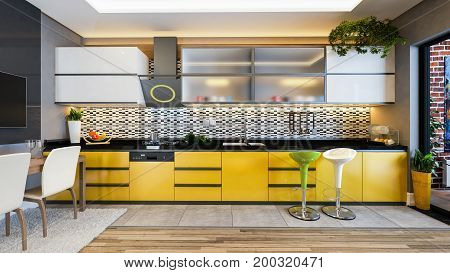 yellow color kitchen design black white ceramic with fresh fruit and kitchen machines 3D rendering