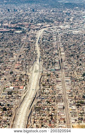 Aerial view of a massive highway intersection in Los Angeles in the daytime