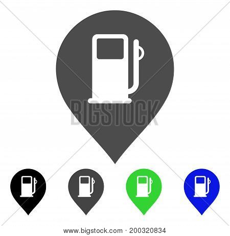 Fuel Station Marker flat vector pictograph. Colored fuel station marker, gray, black, blue, green pictogram versions. Flat icon style for application design.