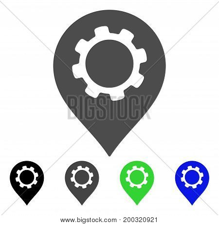 Gear Marker flat vector pictograph. Colored gear marker, gray, black, blue, green icon variants. Flat icon style for graphic design.
