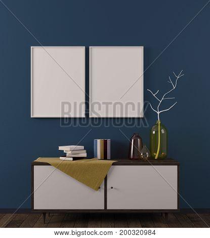Cozy Scandinavian Room With Billboard