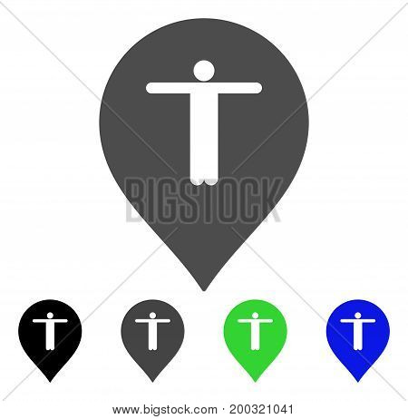 Guest Marker flat vector illustration. Colored guest marker, gray, black, blue, green pictogram variants. Flat icon style for web design.