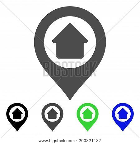 Home Marker flat vector pictogram. Colored home marker, gray, black, blue, green pictogram variants. Flat icon style for web design.