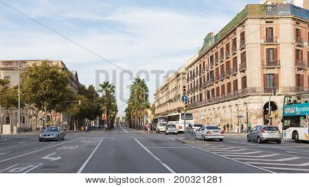 Barcelona - October 10 2015: A city street and few cars on the street October 10 2015 Barcelona Spain