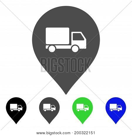 Lorry Marker flat vector pictograph. Colored lorry marker, gray, black, blue, green pictogram versions. Flat icon style for application design.