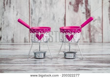 Decorative Chocolate Fondue Bowl And Sticks