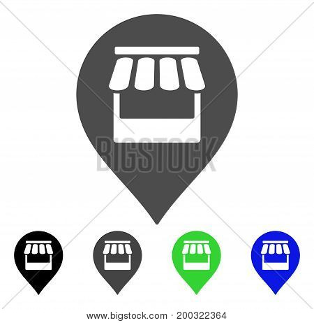 Market Marker flat vector illustration. Colored market marker, gray, black, blue, green icon versions. Flat icon style for application design.