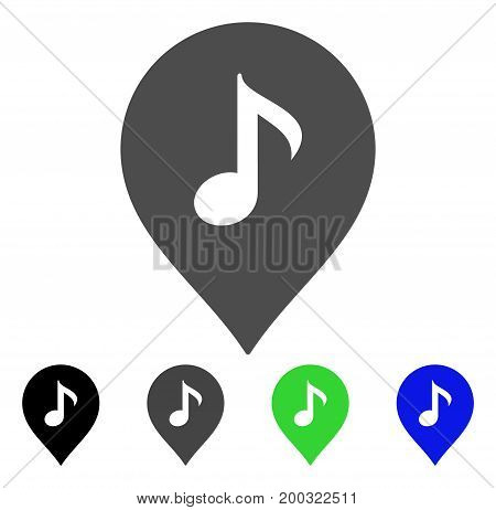 Music Marker flat vector icon. Colored music marker, gray, black, blue, green pictogram versions. Flat icon style for application design.
