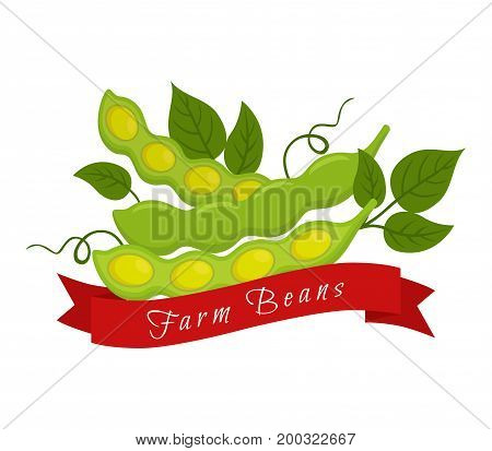 Soy beans label, logo. Farm product, vegetarian food. Made in cartoon flat style. Vector illustration
