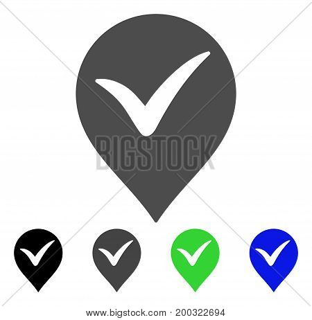 Ok Marker flat vector pictogram. Colored ok marker, gray, black, blue, green pictogram versions. Flat icon style for web design.