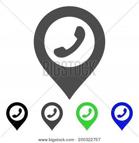 Phone Marker flat vector pictograph. Colored phone marker, gray, black, blue, green pictogram versions. Flat icon style for application design.