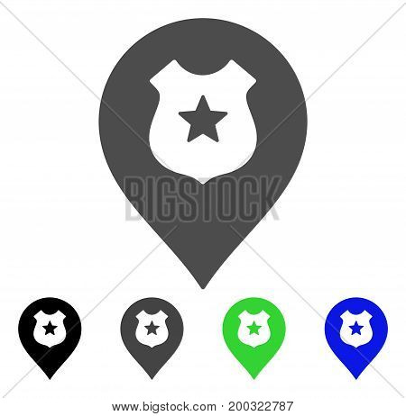 Police Shield Marker flat vector illustration. Colored police shield marker, gray, black, blue, green pictogram variants. Flat icon style for graphic design.