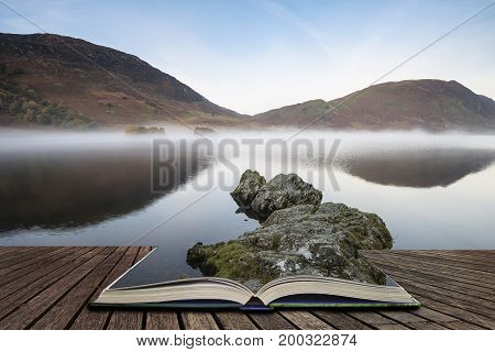 Beautiful Autumn Fall Landscape Image Of Crummock Water At Sunrise In Lake District England Concept