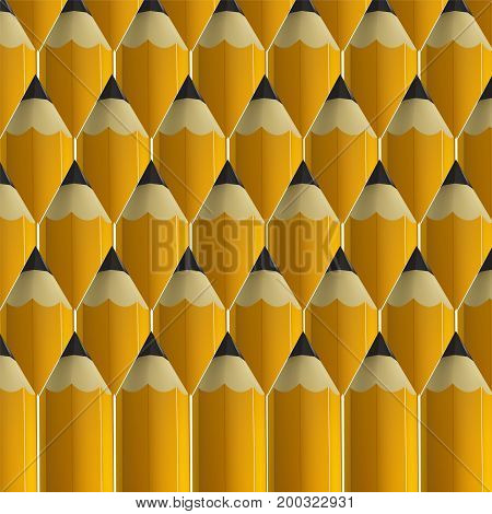 Yellow pencils background. Education and creativity concept. Vector illustration.