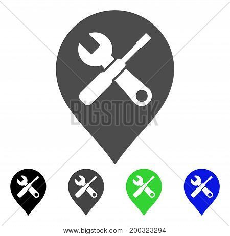 Repair Tools Map Marker flat vector pictograph. Colored repair tools map marker, gray, black, blue, green icon variants. Flat icon style for graphic design.