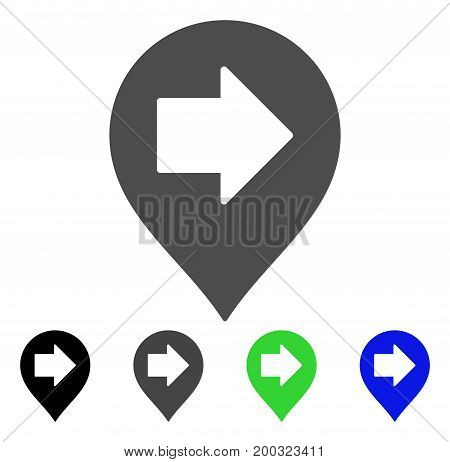 Right Arrow Marker flat vector pictogram. Colored right arrow marker, gray, black, blue, green icon variants. Flat icon style for application design.