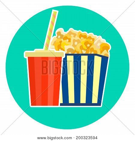 Flat colorful vector lovely fast food couple - cola and yellow caramelized popcorn. Cute fastfood symbol for cafe bar restaurant menu and web design