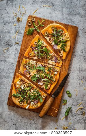 Sliced Pork And Blue Cheese Pizza