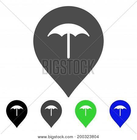 Umbrella Marker flat vector icon. Colored umbrella marker, gray, black, blue, green pictogram versions. Flat icon style for application design.