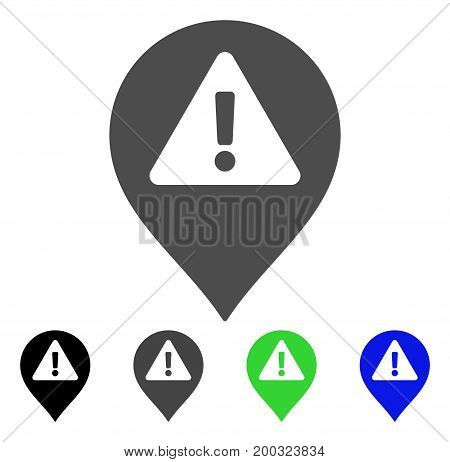 Warning Map Marker flat vector icon. Colored warning map marker, gray, black, blue, green icon versions. Flat icon style for web design.