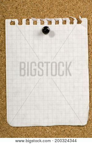 Blank piece of old paper pinned to a bulletin board ready for your text to be added to it.