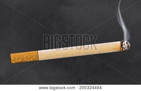 Cigarette Illustrated on Blackboard in Classic Style with Blank Space for Writing