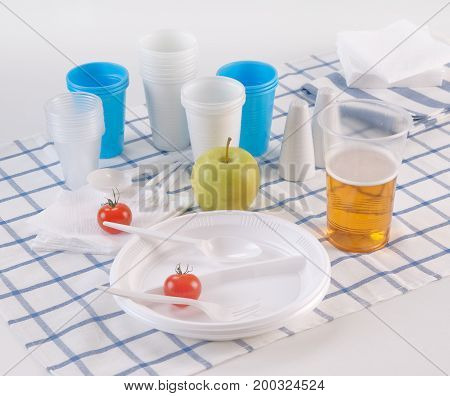 Set of disposable dishes on a kitchen table