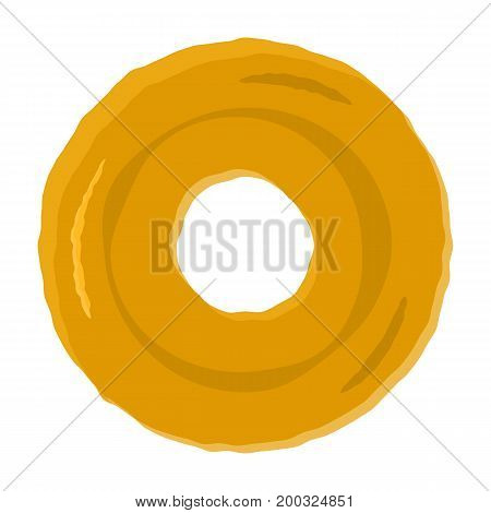 Colorful tasty fried brown donut without topping symbol. Cute delicious sweet dessert food icon for shop bar and cafe menu design