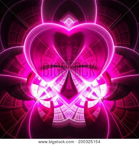 Diamond heart. Precious jewel. 3D surreal illustration. Sacred geometry. Mysterious psychedelic relaxation pattern. Fractal abstract texture. Digital artwork graphic astrology magic