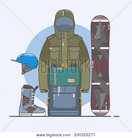 Snowboard accessories. Winter activity flat icons. Line art collection of stock vector clipart.