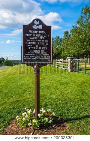 BETHEL NEW YORK - August 13 - A sign at the site of the original Woodstock Festival commemorates the location on August 13 2017 in Bethel NY.