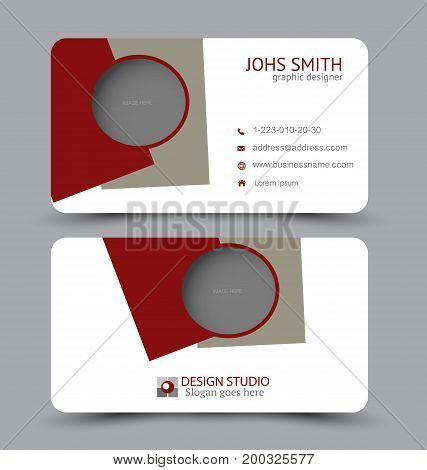 Business card. Design set template for company corporate style. Vector illustration. Red and brown color.