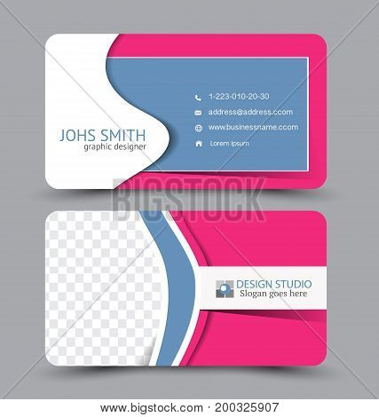 Business card. Design set template for company corporate style. Vector illustration. Pink and blue color.