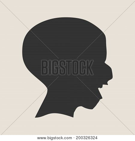Demonic ugly face. Devil scream character. Demon or monster screaming with in an open mouth as a side view horror face. Simple silhouette