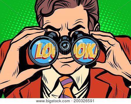 look Businessman looking through binoculars. Pop art retro vector illustration