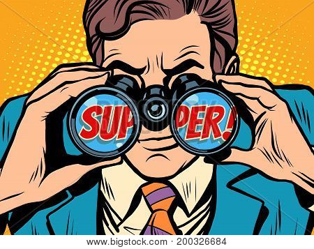 super Businessman looking through binoculars. Pop art retro vector illustration