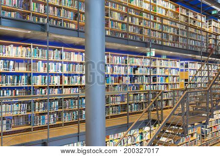 DELFT THE NETHERLANDS - AUGUST 19 2017: Library Technical University Delft in The Netherlands