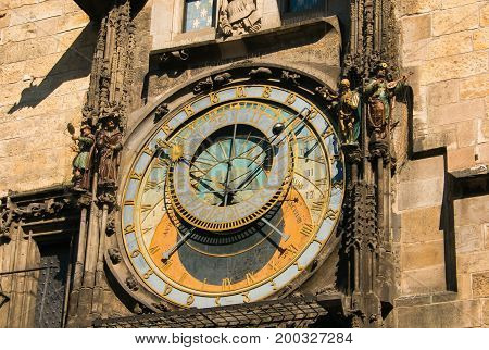 Prague astronomical clock at the Old Town City Hall from 1410