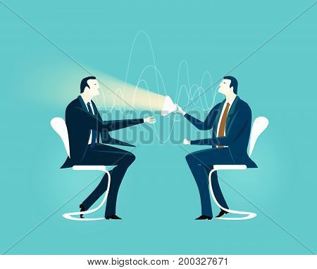 Business meeting. Two businessmen having a strong conversation. Business concept illustration.